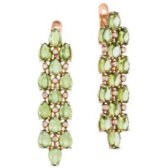 Yoki Peridot and Diamond Rose Gold Drop Earring