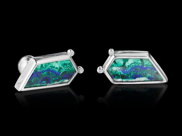 One-of-a-kind Platinum Cufflinks YOKI design, features Diamond (0.1cts. approx.) and Azurite Malachite 1(14.7cts approx.) set in Platinum.   Dimensions: 2.9mm face length x 1.3mm face width (approximately)  Style: Cufflinks: Ball return back  This