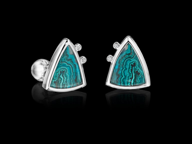 One-of-a-kind Platinum Cufflinks YOKI design, features Diamond (0.1cts. approx.) and Azurite Malachite (27.5cts approx.) set in Platinum.   Dimensions: 2.1mm face length x 1.7mm face width (approximately)  Style: Cufflinks: Ball return back  This