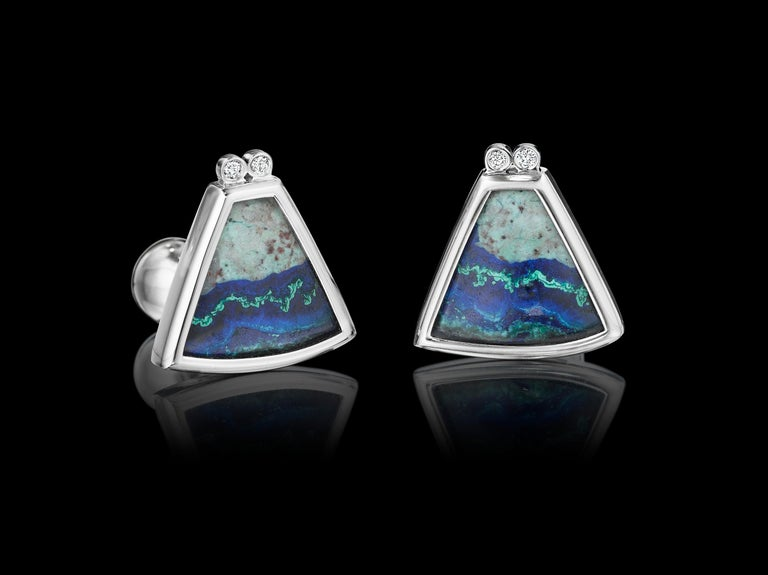 One-of-a-kind Platinum Cufflinks YOKI design, features Diamond (0.1cts. approx.) and Azurite Malachite (14.6cts approx.) set in Platinum.   Dimensions: 2.1mm face length x 2.0mm face width (approximately)  Style: Cufflinks: Ball return back  This