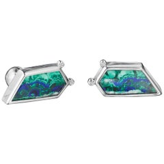 Yoki Platinum Diamond Azurite Malachite Cufflinks