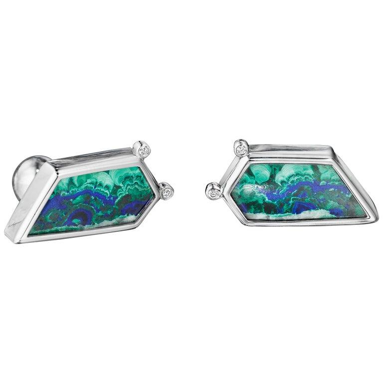 Yoki Platinum Diamond Azurite Malachite Cufflinks For Sale