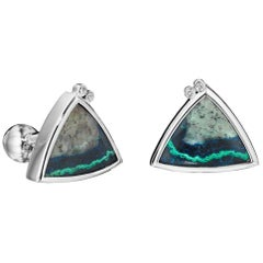 Yoki Platinum Diamond Azurite Malachite Cufflinks