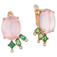 Yoki Rose Quartz Tsavorite Diamond Rose Gold Drop Earring