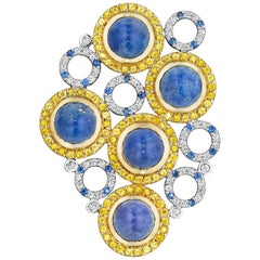 Yoki Sapphires, Diamonds and Lapis Lazuli Yellow and White Gold Brooch-Pendant