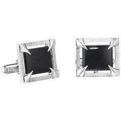 Yoki Sophisticated Black Onyx Sterling Silver Cufflinks