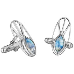 Yoki Sophisticated Blue Moonstone Sterling Silver Cufflinks
