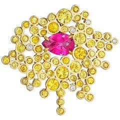 Yoki Yellow Sapphire, Pink Tourmaline and Diamond Yellow Gold Brooch-Pendant