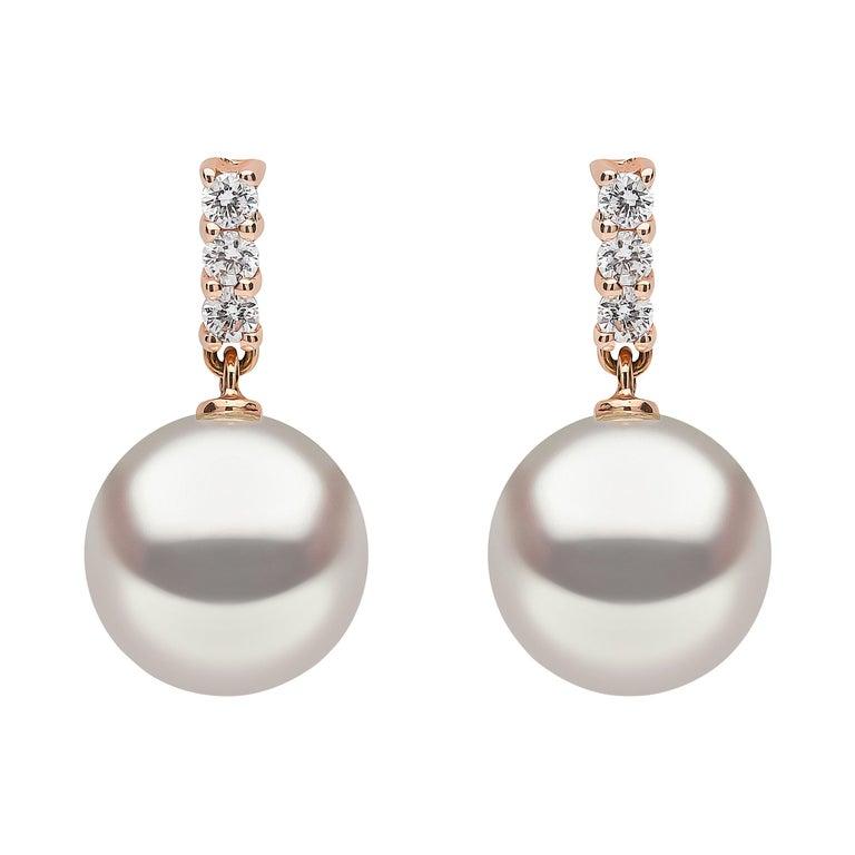 Yoko London Akoya Pearl and Diamond Earrings in 18 Karat Rose Gold