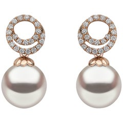 Yoko London Akoya Pearl and Diamond Earrings Set in 18 Karat Rose Gold