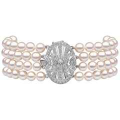 Yoko London Akoya Pearl and Diamond Four-Row Bracelet in 18 Karat White Gold