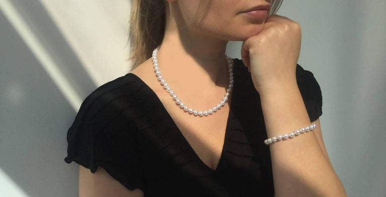 A jewellery box staple, this luxurious Japanese Akoya Pearl Row Bracelet has been crafted from exceptionally fine materials. Each Pearl has been hand selected in our London atelier for its lustre and smooth surface, and has been strung onto a