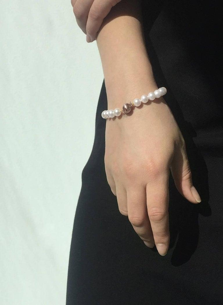 Contemporary Yoko London Akoya Pearl Classic Row Bracelet on 18K Rose Gold Diamond Set Clasp For Sale