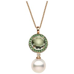 Yoko London Amethyst, Tsavorite, Diamond, South Sea Pearl Pendant 18 Karat Gold