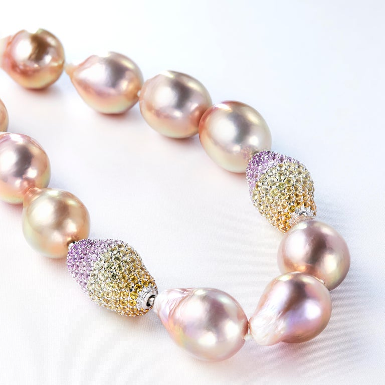 Modern Yoko London Baroque Freshwater Pearl and Sapphire Necklace in 18 Karat Gold For Sale