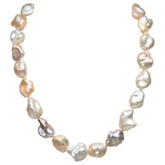 Yoko London Baroque Freshwater Pearl Necklace in 18 Karat White Gold