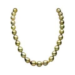 Yoko London Baroque Pistachio-Coloured Tahitian Pearl Necklace in 18 Karat Gold