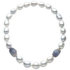 Yoko London Baroque South Sea Pearl and Blue Sapphire Necklace in 18 Karat Gold