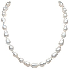 Yoko London Baroque South Sea Pearl Necklace in 18 Karat White Gold
