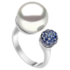 Yoko London Blue Sapphire and South Sea Pearl Ring in 18 Karat White Gold