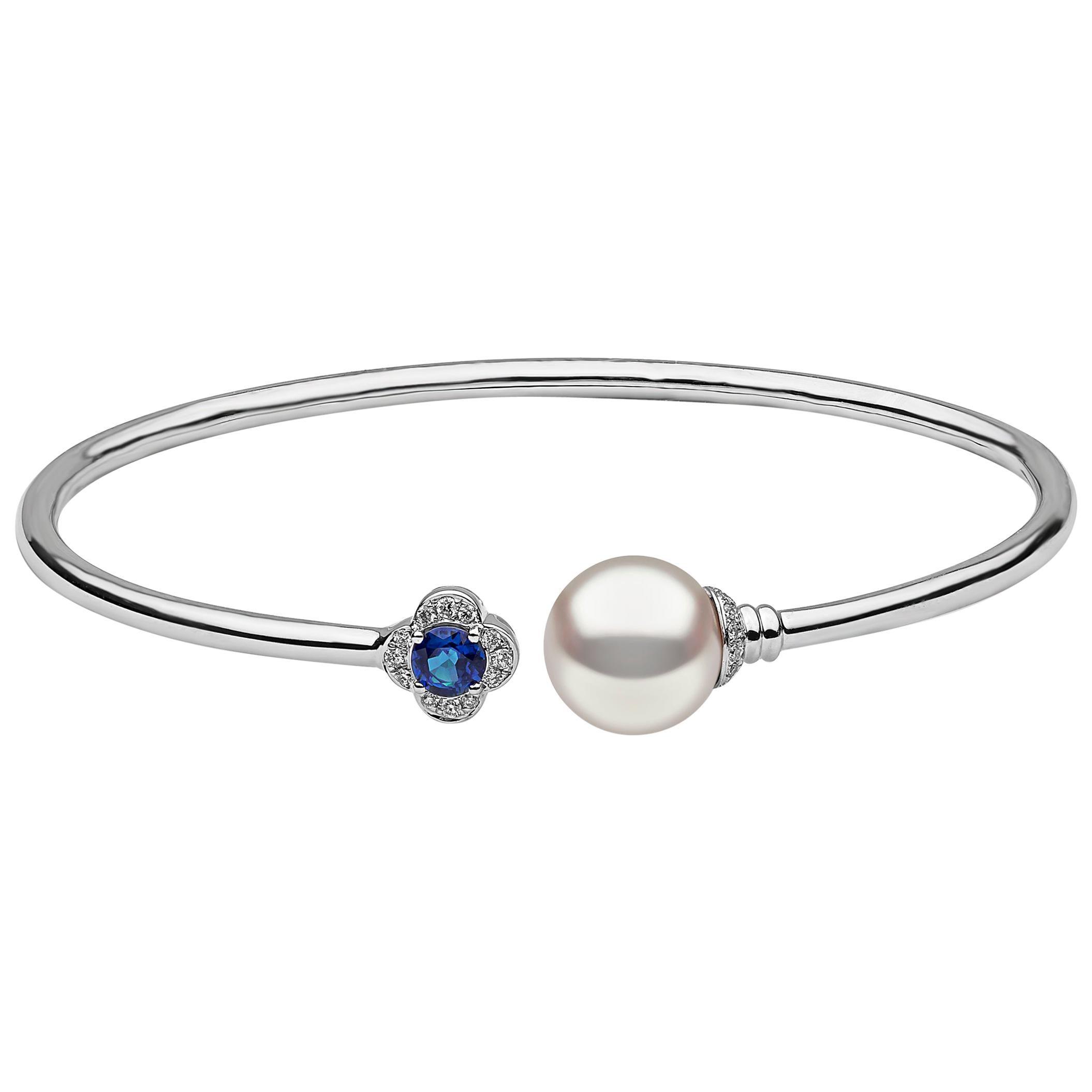 Yoko London Blue Sapphire, Diamond and Pearl Bangle in 18 Karat White Gold