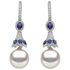 Yoko London Blue Sapphire Diamond and South Sea Pearl Earrings in 18 Karat Gold