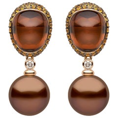 Yoko London Chocolate-Colored Tahitian Pearl, Quartz, Diamond & Sapphire Earring