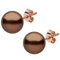 Yoko London Chocolate-Colored Tahitian Pearl Stud Earrings in 18 Karat Rose Gold