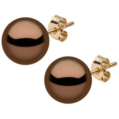 Yoko London Chocolate Colour Tahitian Pearl Stud Earrings in 18K Yellow Gold