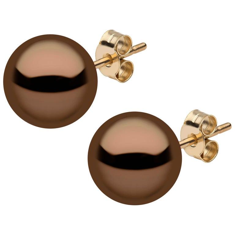 9bfd06fe8 Yoko London Chocolate Colour Tahitian Pearl Stud Earrings, in 18K Yellow  Gold For Sale