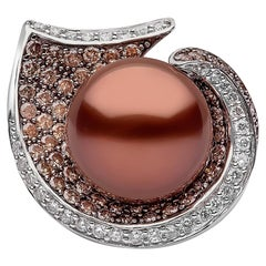 Yoko London Chocolate Tahiti Pearl, Cognac and White Diamond Ring, 18 Karat Gold