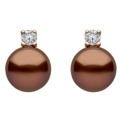 Yoko London Chocolate Tahitian Pearl and Diamond Earrings Set in 18 Karat Gold