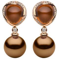 Yoko London Chocolate Tahitian Pearl, Quartz and Diamond Earrings 18K Rose Gold