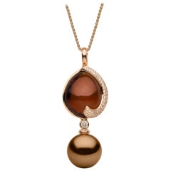 Yoko London Chocolate Tahitian Pearl, Quartz and Diamond Pendant 18 Karat Gold