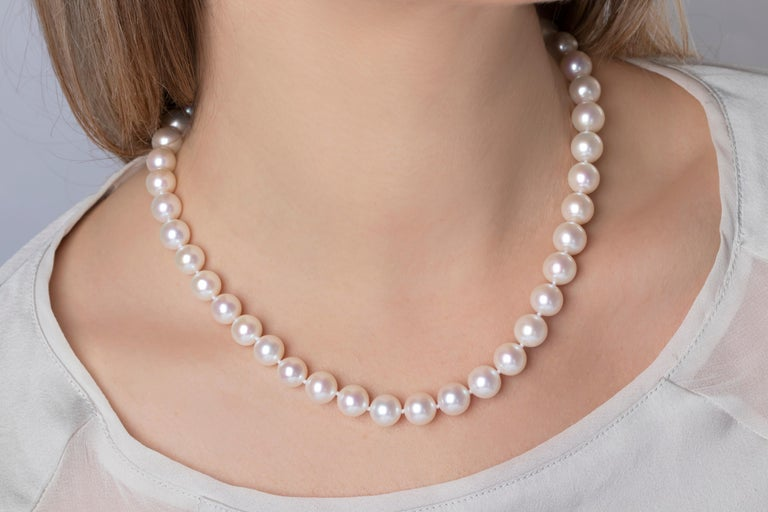 Contemporary Yoko London Classic Freshwater Pearl Necklace in 18 Karat White Gold For Sale