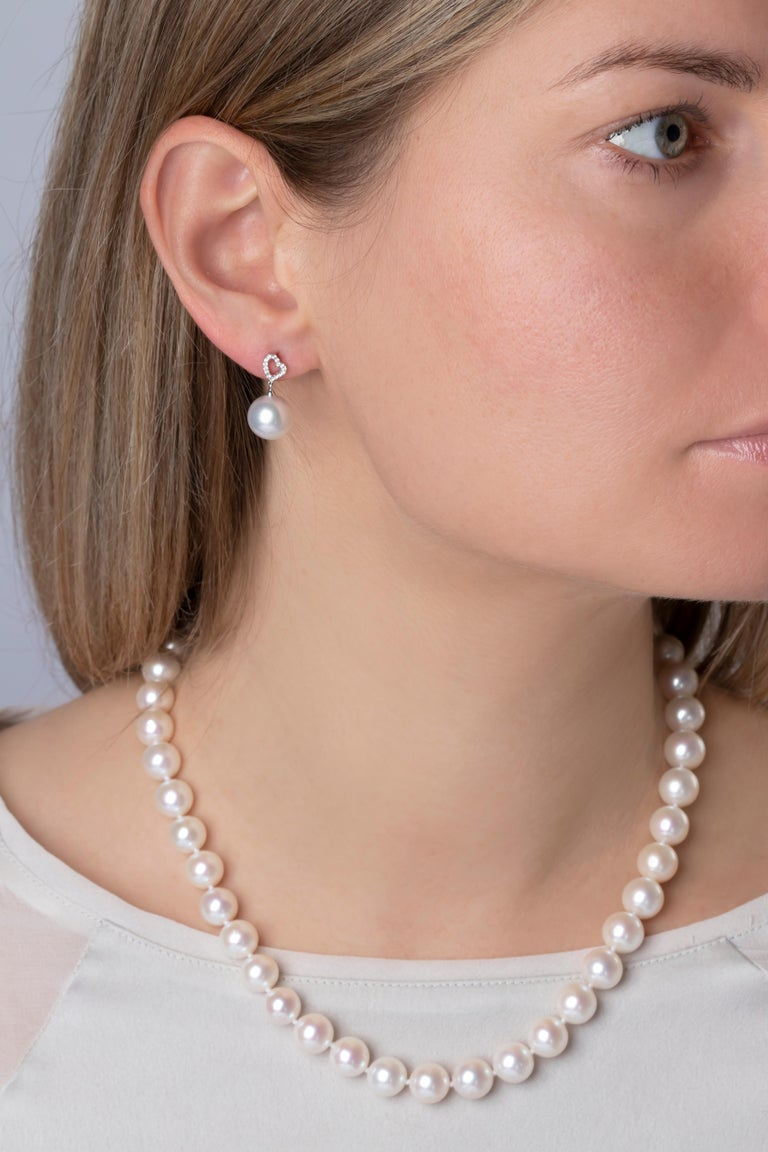 Round Cut Yoko London Classic Freshwater Pearl Necklace in 18 Karat White Gold For Sale