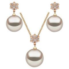 Yoko London Diamond and South Sea Pearl Pendant and Earring set in 18 Karat Gold