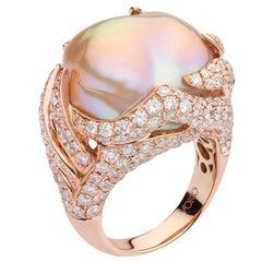 Yoko London Freshwater Baroque Pearl and Diamond Ring in 18 Karat Rose Gold