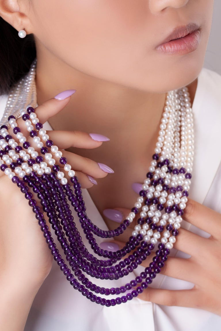 Modern Yoko London Freshwater Pearl and Amethyst Necklace in 18 Karat White Gold For Sale