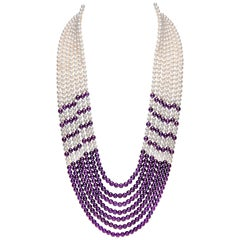 Yoko London Freshwater Pearl and Amethyst Necklace in 18 Karat White Gold
