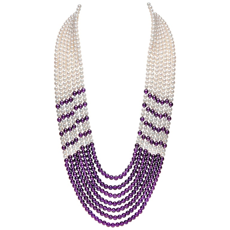 Yoko London Freshwater Pearl and Amethyst Necklace in 18 Karat White Gold For Sale