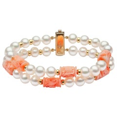 Yoko London Freshwater Pearl and Coral Bracelet in 18 Karat Yellow Gold