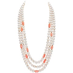 Yoko London Freshwater Pearl and Coral Necklace in 18 Karat Yellow Gold