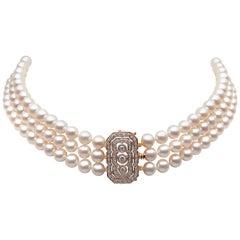 Yoko London Freshwater Pearl and Diamond Choker Necklace in 18 Karat Rose Gold