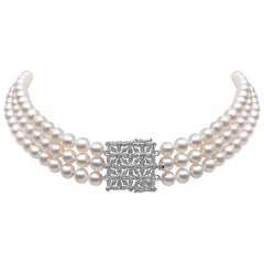 Yoko London Freshwater Pearl and Diamond Choker Necklace in 18 Karat White Gold