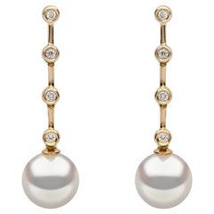 Yoko London Freshwater Pearl and Diamond Drop Earrings in 18 Karat Yellow Gold