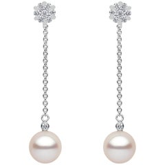 Yoko London Freshwater Pearl and Diamond Earring in 18 Karat White Gold