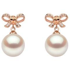 Yoko London Freshwater Pearl and Diamond Earrings in 18 Karat Rose Gold