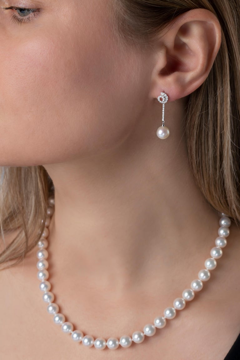 Contemporary Yoko London Freshwater Pearl and Diamond Earrings in 18 Karat White Gold For Sale