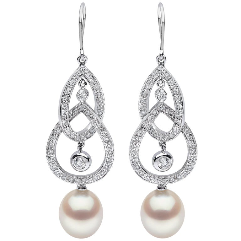 Yoko London Freshwater Pearl and Diamond Earrings in 18 Karat White Gold For Sale